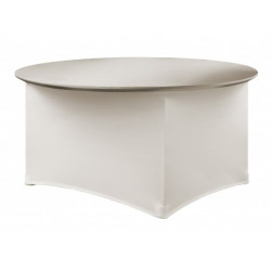 Housse de table 150 x 73 cm de couleur crème - PREMIUM RONDE - 180 gr/m²