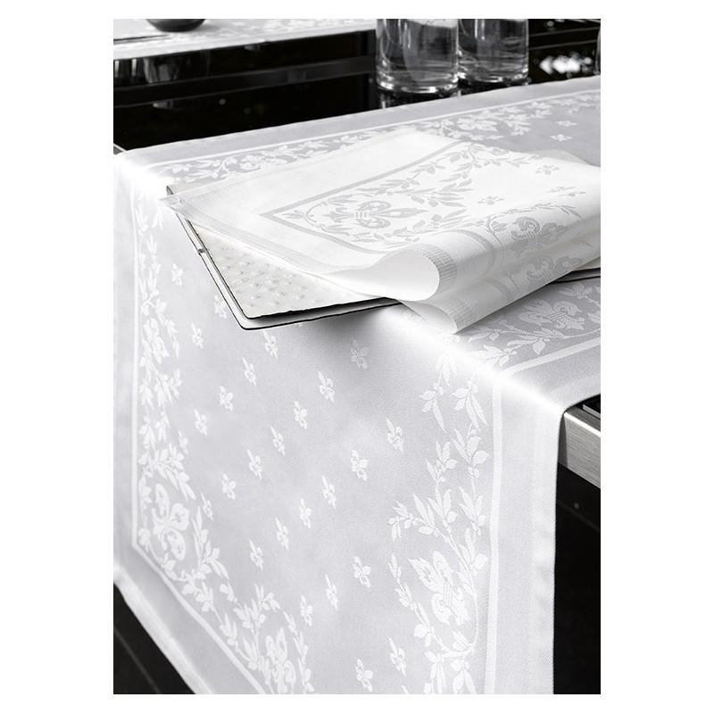nappe en coton damass blanche pour professionnels de la restauration. Black Bedroom Furniture Sets. Home Design Ideas