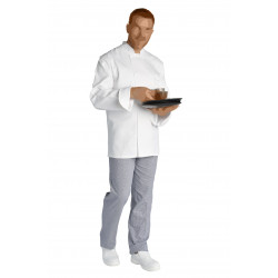 Veste cuisine blanc | 100% coton sergé | Mixte | Manches longues