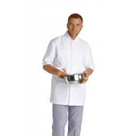Veste mixte légère de cuisine 100% coton blanc - HENRY - 180 gr/m²