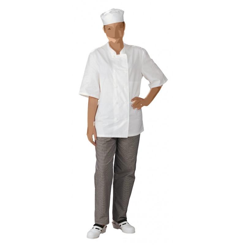 Veste de cuisine légère mixte | Blanche | 1 poche intérieure | Coton