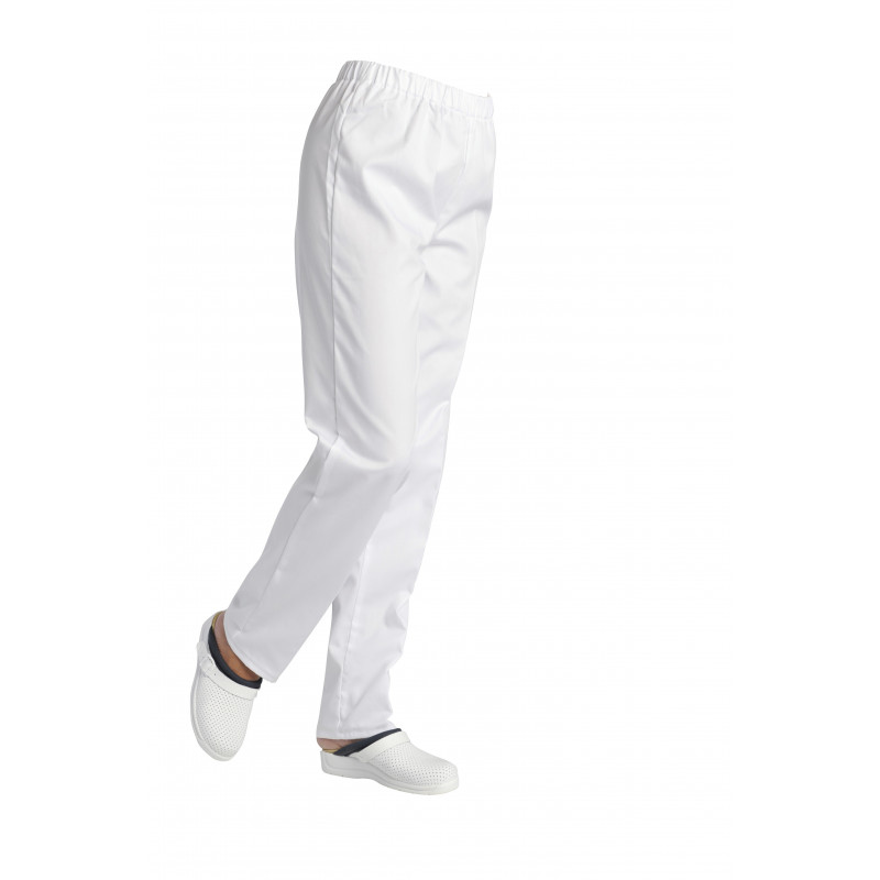 Pantalon mixte, santé, cuisine, spa, 100% coton | Élastiqué | Blanc