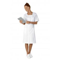 Blouse blanche à poches en polycoton - MARIANNE - 195 gr/m²