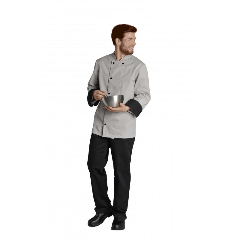 Veste de cuisine à manches longues   Poignets et col noir   Respirant