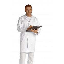 Blouse blanche manches longues en sergé coton - JULIEN - 210 gr/m²