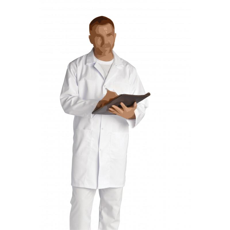 Blouse blanche Julien à manches longues et fermeture à pressions, en sergé coton