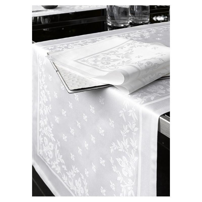 Lot de 12 serviettes de table restauration | 100% coton fleurs de lys
