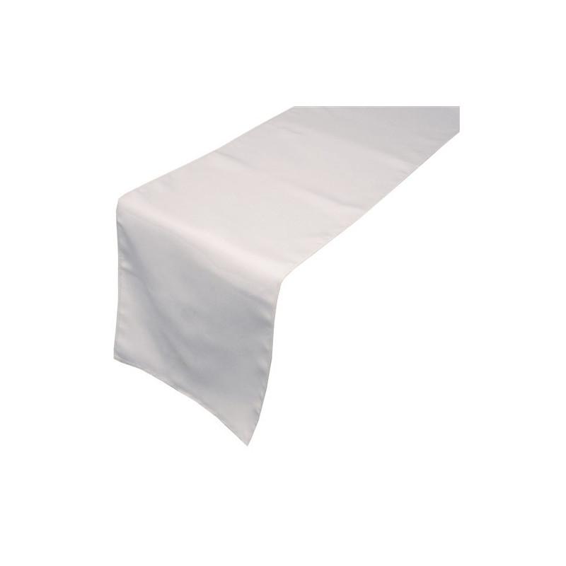 Chemin de table - 100% satin de polyester blanc - 220 gr/M2