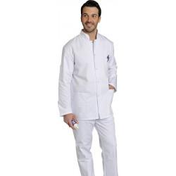 Blouse blanche - FABIEN - Fermeture à pressions - Polycoton 195 gr/m²