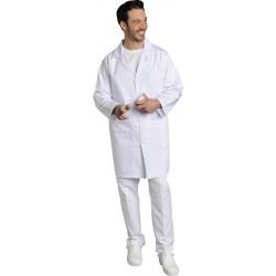 Blouse blanche fermeture à pressions - XAVIER - 4 poches