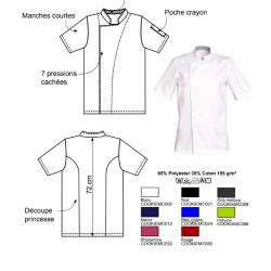 Veste cuisine mixte | Plusieurs coloris, dimensions | Pressions cachées