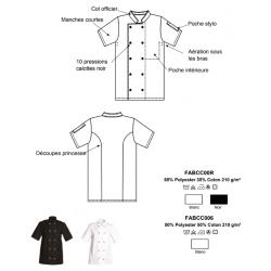 Veste cuisine | Pressions couleurs opposées | Polycoton | Blanc ou noir