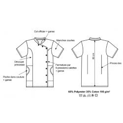 Tunique santé, spa polycoton | 2 poches et pression | Blanche/grise