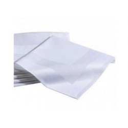 Lot 10 Serviettes 100% coton - NEW YORK - Encadré de Satin Blanc
