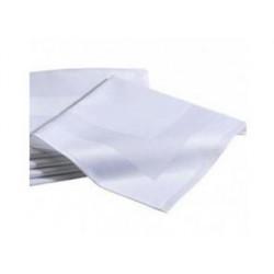 Lot 10 Serviettes 100% coton - NEW YORK - Encadré de Satin Blanc