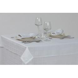 Nappage polycoton blanc design géométrique - RONDA - 230 gr/m²