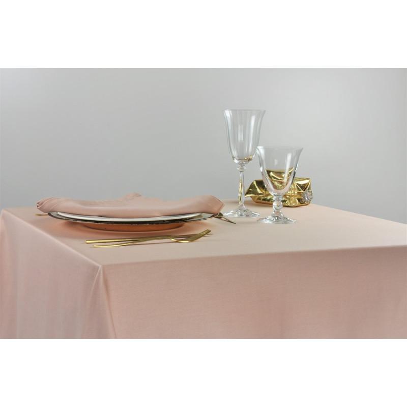 Nappe carrée pour restaurant en polycoton beige 100x100cm