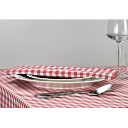 Lot de 10 serviettes de table en polycoton - CAPRI Petits carreaux - 186 gr/m²