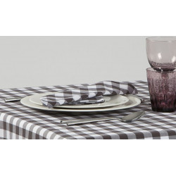 Lot de 10 serviettes de table carreaux couleurs polycoton - CAPRI carreaux - 190 gr/m²