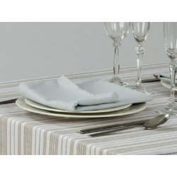 Lot de 10 serviettes de table polyester & lin à rayures - KEFREN - 220 gr/m²