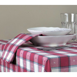 Lot de 10 serviettes de table polycoton damier - PISA - 190 gr/m²