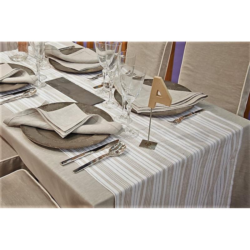 Lot de 5 chemins de table restaurant | Polyester & lin à rayures