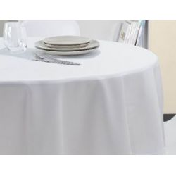 Nappe ronde facile d'entretien en polycoton blanc - 210gr/m²