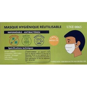 10 Masques barrière anti projection en tissu 30 lavages -  COVID19