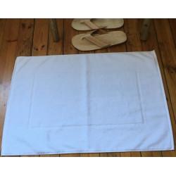 Tapis de bain hôtellerie en 100% coton blanc   Résistant & Absorbant