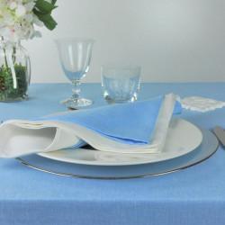 serviette-restaurant-lin-polyester-bleu