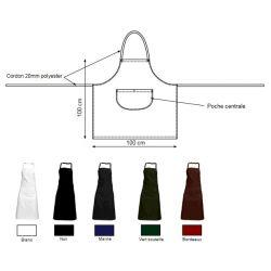 Lot de 5 tabliers bavette grande poche - VALERAN - 260 gr/m²