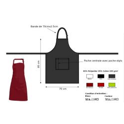 Tablier bavette à poche centrale en polycoton - ANDREA - 195 gr/m²