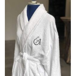 Peignoir pour hôtel et spa en éponge blanche - Comptoir Textile Hôtelier