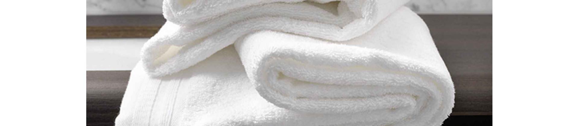 Linge de bain éponge blanc uni pour hôtels, collectivités et gîtes